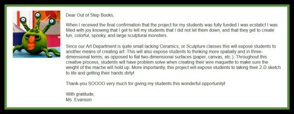 Ms Evanson - letter